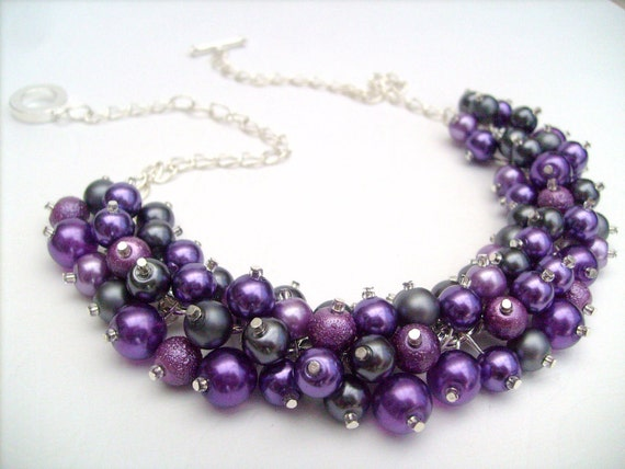 Reserved for Courtney - Pearl Beaded Necklace, Purple and Slate Gray Bridesmaid Necklace, Purple Necklace, Cluster Necklace, Bridesmaid Gift