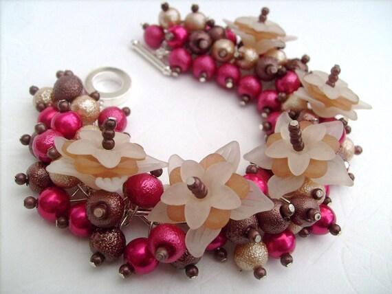 Chocolate and Raspberry Pearl Beaded Bracelet With Flowers, Cluster Bracelet, Chunky Bracelet Original Designs by Kim Smith