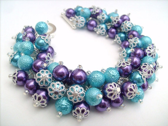 Purple and Aqua Blue Pearl Bracelet, Cluster Bracelet, Beaded Bracelet, Bridesmaid Bracelet, Wedding Jewelry, Purple Jewelry, Gift For Her
