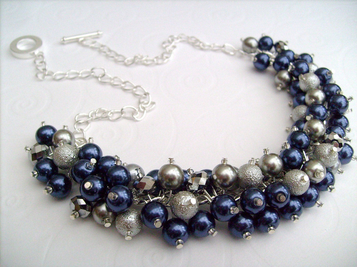 pearl beaded necklace navy blue silver bridesmaid by kimmsmith