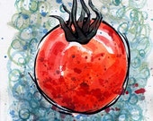 Ripe Tomato original ink and watercolor painting