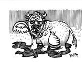 Beast original ink drawing