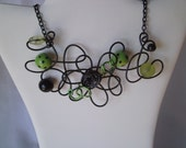 Fun Free Form Black and Green Flower Wire Necklace
