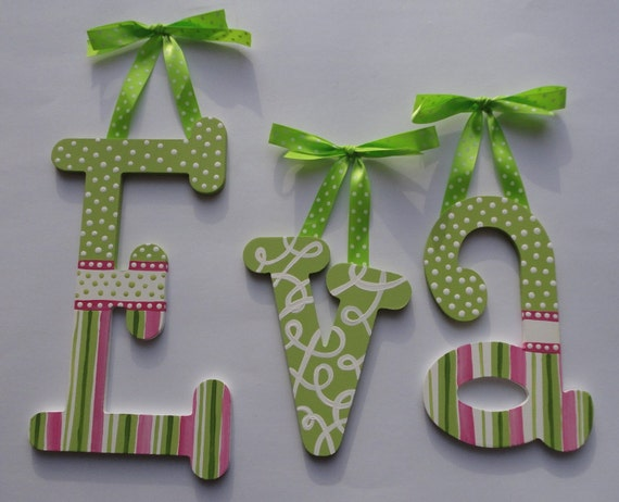 Items Similar To Wooden Wall Letters Hand Painted Pink