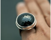 Disco Ring SALE 40% off - Huge Black Spinel and Sterling Silver Cocktail Ring