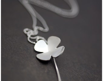 Clover for your neck - Sterling Silver Four-leaf Clover Pendant