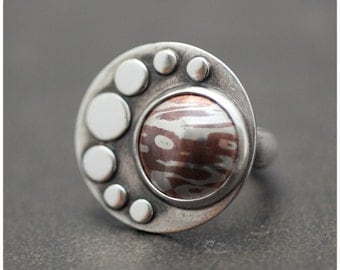 In Orbit - Mokume Gane Sterling silver and Copper Moon Crescent Cocktail ring