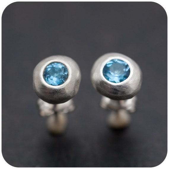 Blue Topaz on the Rocks - Sterling Silver Earrings