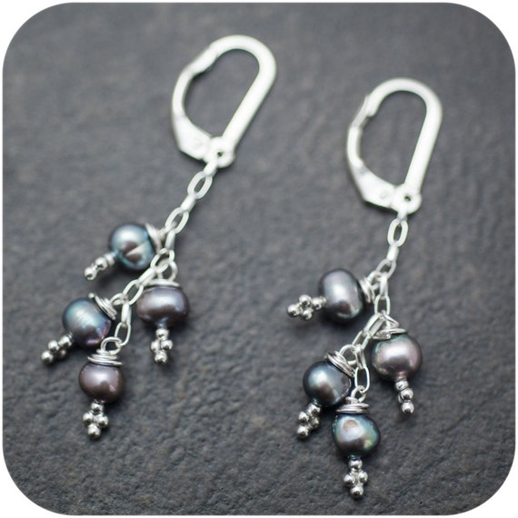 Dark Pearl Cluster and Sterling Silver Dangle Earrings