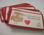 Set of 20 Custom Valentine Owl Classroom Cards--Personalized for Classroom Parties, Preschool, and More