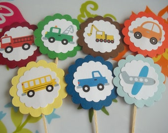 Set of 10 Transportation Themed Cupcake Toppers--Planes, Cars, Trucks, Construction, and More