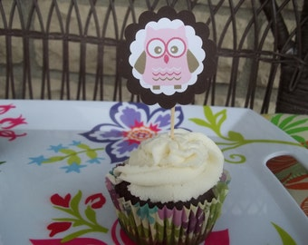 Set of 10 Cute Owl Cupcake Toppers--Pink and Brown