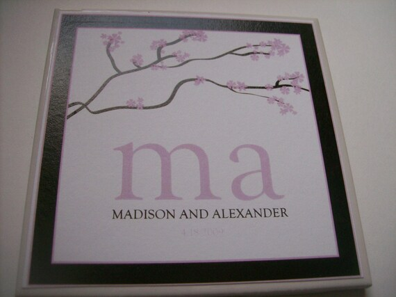 Custom Bridal Shower, Wedding, or Anniversary Ceramic Coaster Favor Sample--You Choose the Colors and Initials
