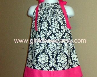 Beautiful Damask with Hot Pink Pillowcase Dress 3 6 9 12 18 month mo 2T 3T 4 5 6 ... By Girlie Bows