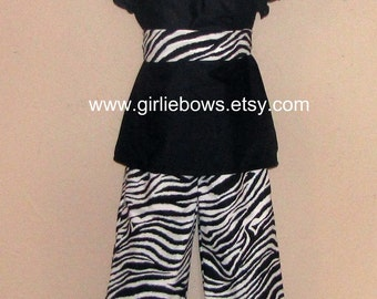 Zebra Print Ruffled Pants or Capris size 6 12 18 24 month mo 2T 3T 4T 5T 6 7