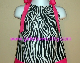 Zebra Print Pillowcase Dress or Top with Hot Pink 3 6 9 12 18 month mo 2T 3T 4T 5 6 ... By Girlie Bows