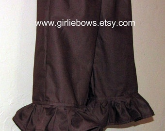 Chocolate Brown Ruffled Boutique Pants or Capris size 6 12 18 24 month mo 2T 3T 4T 5T 6 7