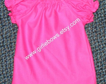 Hot Pink Peasant Top Shirt Size 6 12 18 24 month mo 2T 3T 4T 5T 6 7 ... By Girlie Bows