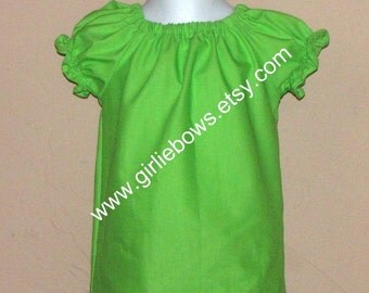 Lime Green Peasant Top Shirt Size 6 12 18 24 month mo 2T 3T 4T 5T 6 7 ... By Girlie Bows