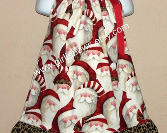 Santa Leopard Ruffled Pillowcase Dress 3 6 9 12 mo month 2T 3T 4T 5 6 ... Girliebows