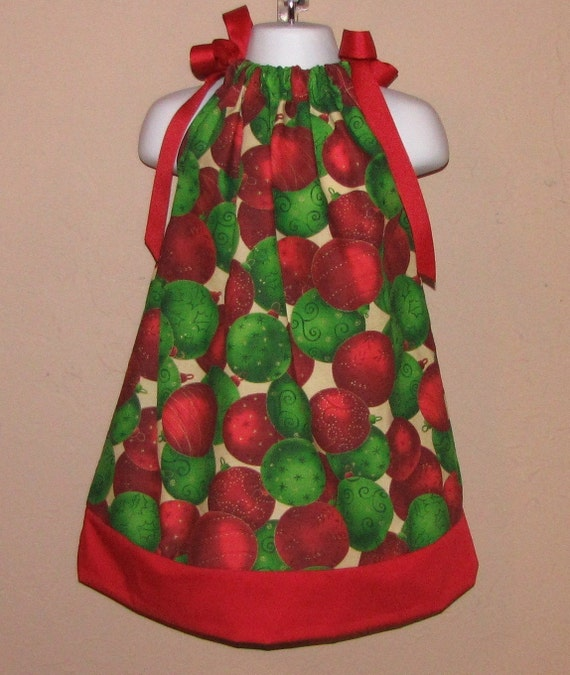Christmas ornament pillowcase dress 3 6 9 12 18 month mo 2t 3t 4 5 6