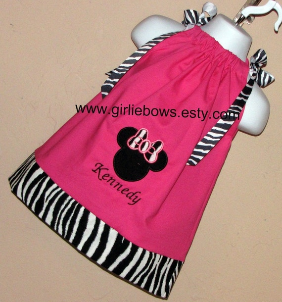 Minnie Mouse Inspired Personalized Zebra Pillowcase Dress or Top size 3 6 9 12 18 month mo 2T 3T 4T 5 6  Girliebows