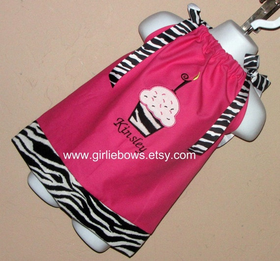Cupcake Birthday Personalized Pillowcase Dress or Top size 3 6 9 12 18 month mo 2T 3T 4T 5 6  Girliebows