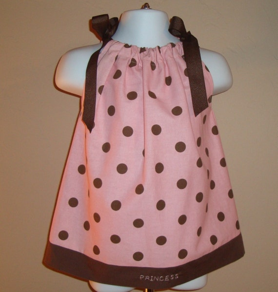 Pink with Chocolate Brown Polka Dot Pillowcase Dress Halter Dress or Top Monogram size 3 6 12 18 month mo 2T 3T 4 5 6