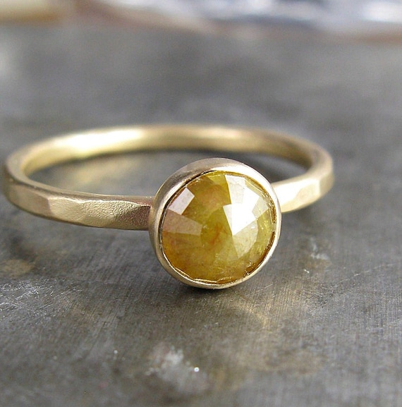 Rustic 6mm Rose Cut Raw Diamond and Recycled 14k Gold Ring - 1.11 Carats of Bliss
