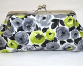 Chartreuse Green Charcoal Grey Clutch/ Green Gray Poppies Bridesmaid Clutch