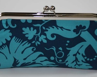 Turquoise Teal Acanthus Clutch Purse