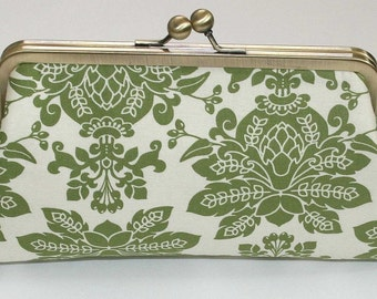 Celadon Green Damask Clutch Purse Bridesmaid Clutch