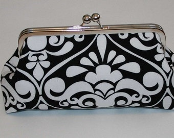 Clutch Black and White Divine Damask Clutches Bags