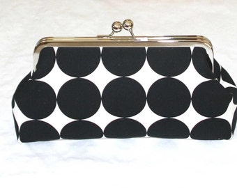 Clutch Purse Black Mod Dot Large Polka Dot