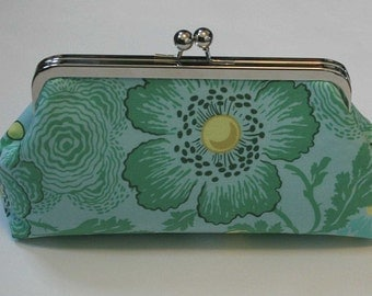 Green Floral Clutch Purse, Mint Bridesmaid Clutch, Bridal Clutch, Wedding Clutch - SALE