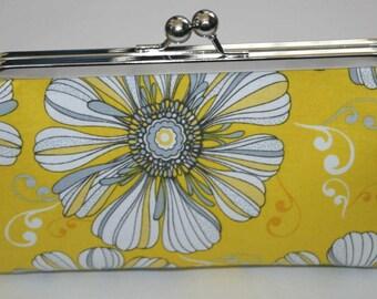 Yellow Grey Floral Clutch Purse Bridesmaid Clutch  Big Daisy Clutch Purse Bridesmaid Gift