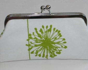 Bridal Clutch Chartreuse Green White Dandelion Bridesmaid Clutch Purse