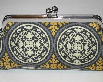 Clutch/Purse/Bag/Handbag Slate Grey and Antique Yellow Iron Works Bridesmaid Clutch