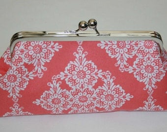 Personalized Bridesmaid Clutch Coral White Clutch Purse