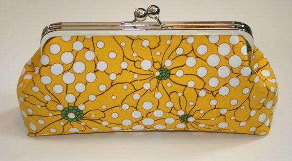 Clutch Purse Handbag Yellow Flowers with Bubbles