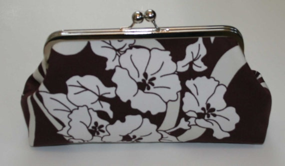 Clutch Purse Amy Butler Brown Ivory Graceful Vines Floral Bridesmaid Clutch