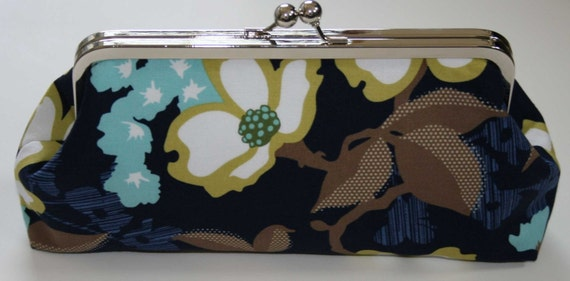 Clutch Bag Navy Aqua Antique Yellow Snap Clutch