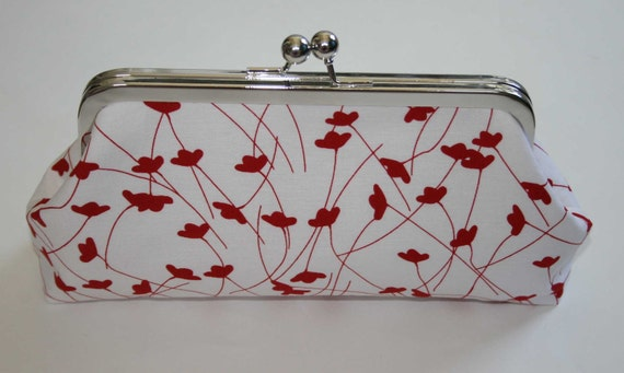 Red White Bridesmaid Clutch/Red Ginko Print Clutch
