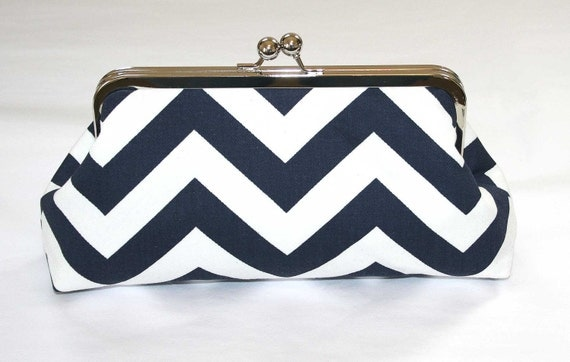 CUSTOM ORDER for Nicole Bronkhorst -Chevron Bridesmaid Clutch Navy White Chevron Clutch Purse