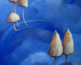 Mushrooms in space, an ORIGINAL acrylic painting, by  Craig Williams
