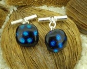 Dichroic Glass Cufflinks on Silver Chain Fittings.. Blue Spots
