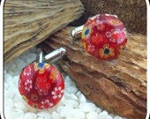Fused Glass Cufflinks ..Circular Button Cabochons - Silver Tone T-Bar Fittings - Red Millefiori