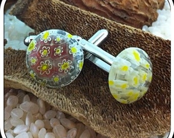 Fused Glass Cufflinks ..Circular Button Cabochons - Silver Tone T-Bar Fittings - Clear Yellow Millefiori Pattern - Gift Boxed