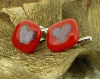 Glass Cufflinks - Scarlet Red - Encased Hearts - Silver T-Bar Fittings - Boxed