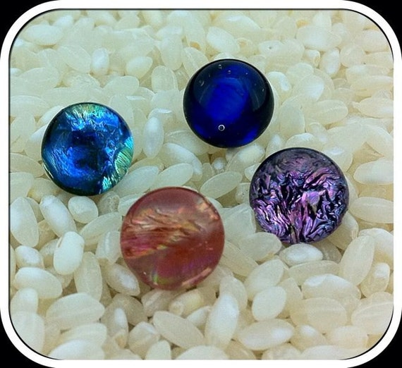 4 x Dichroic Glass Feature Buttons - Silvered Metal Loop Backs ..Assorted colours..  9mm etsyukpromo0313